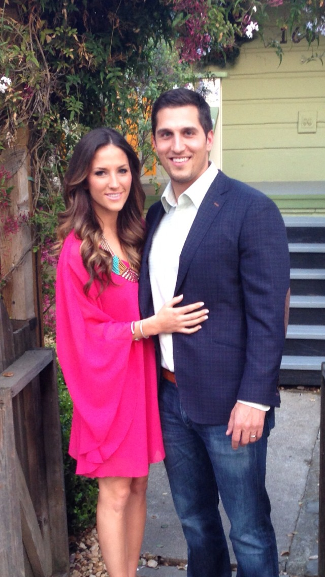 Stitch-It customer Kyle Strongin wearing his Loring & Co. sport coat with his lovely wife Julie.