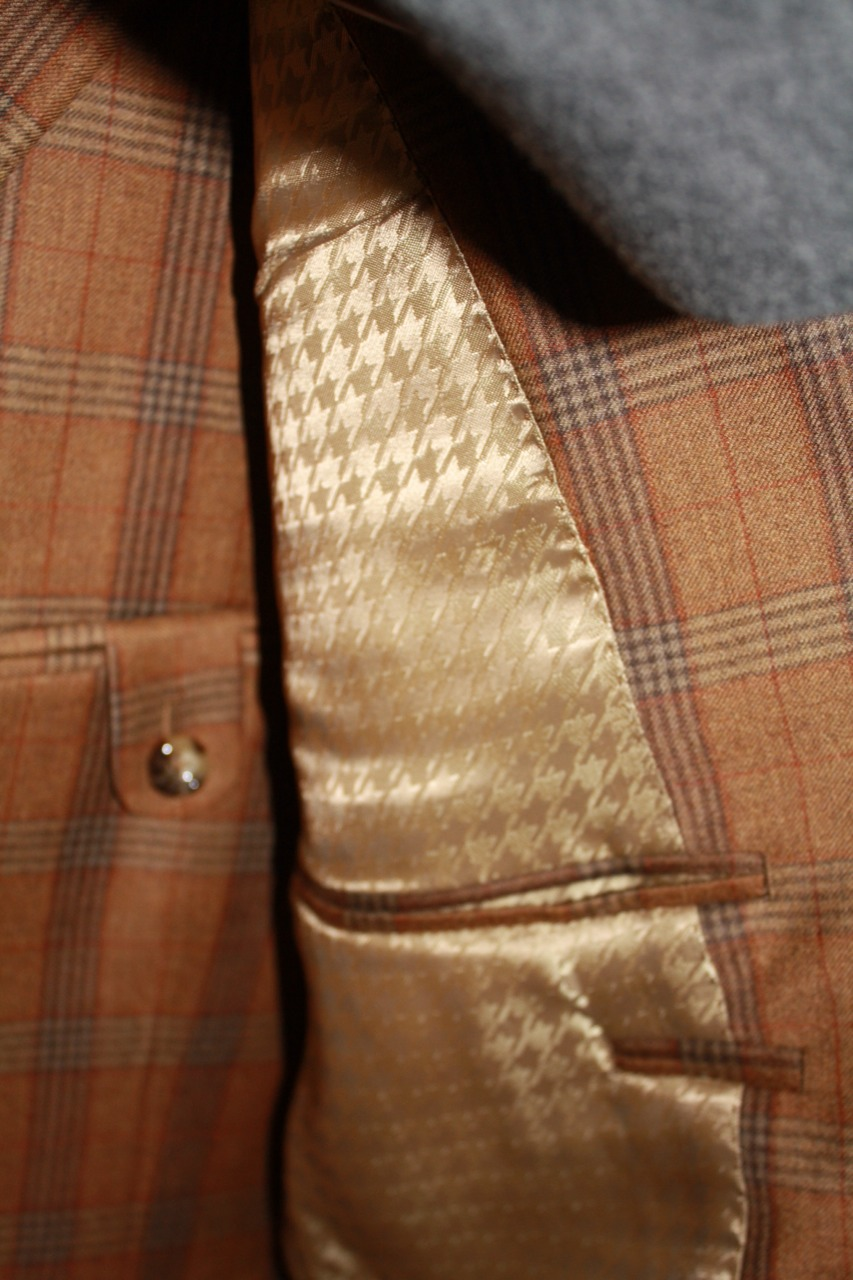 brown plaid bespoke suit gold lining