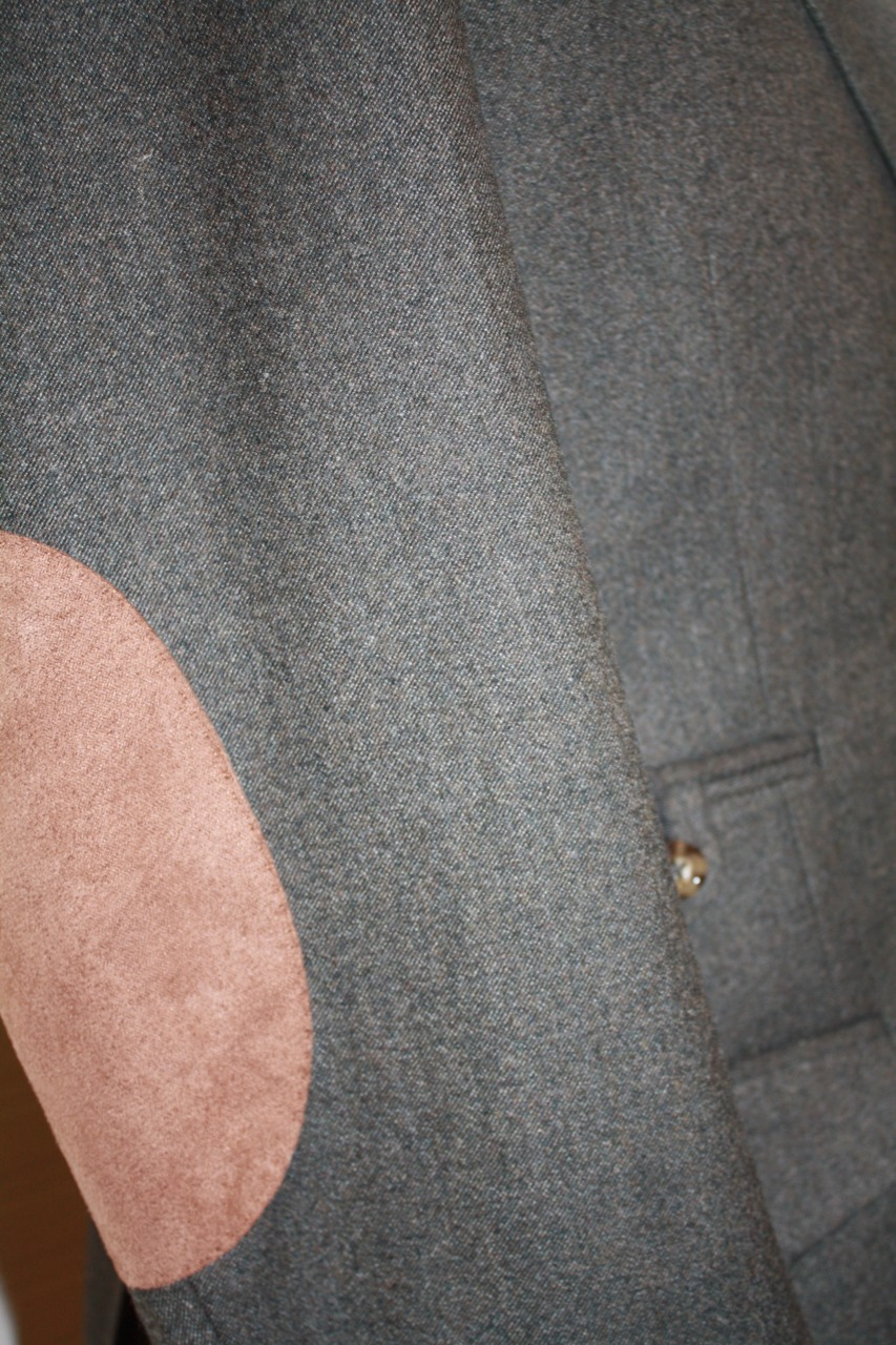 bespoke suit gray with elbow patch