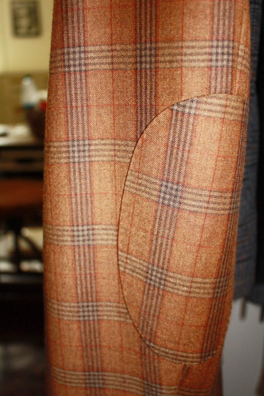 bespoke suit brown plaid elbow patch