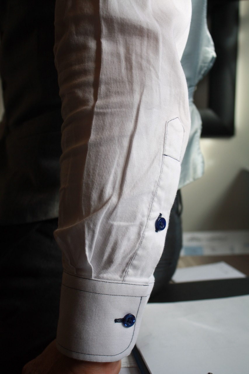 bespoke white shirt black buttons