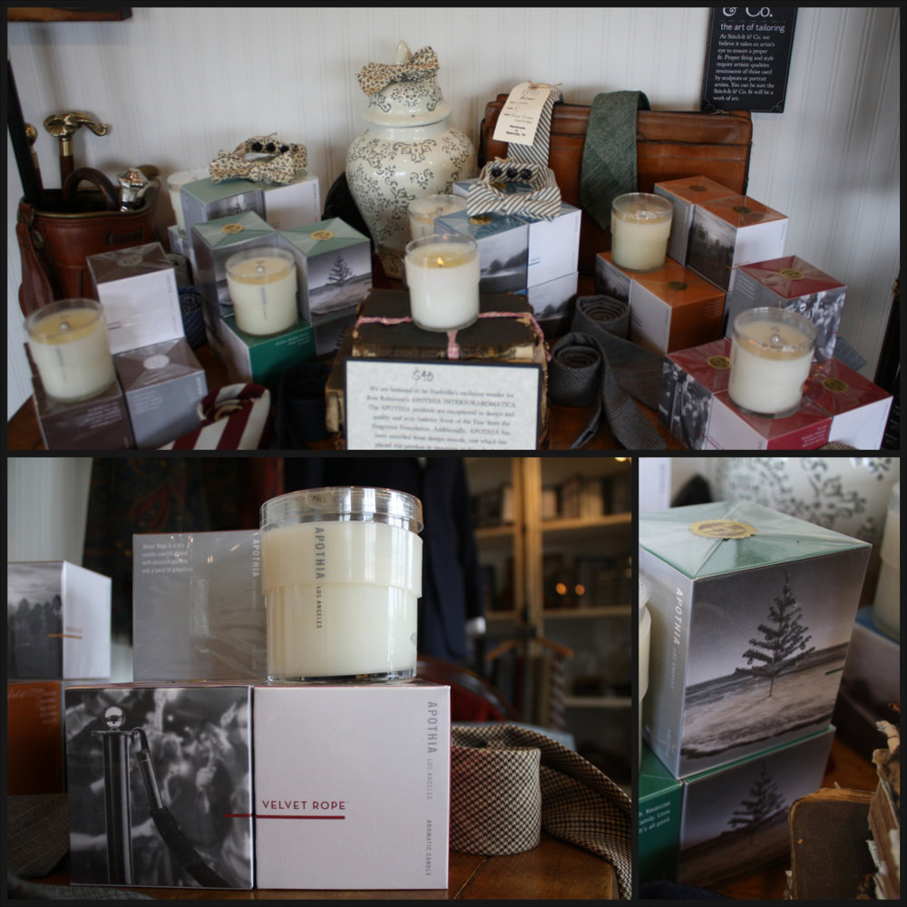 We are honored to be Nashville's exclusive retailer for Ron Robinson's APOTHIA INTERIOR AROMATICS. These products have won Interior Scent of the Year from the Fragrance Foundation, as well as three other design awards. They are sulfate and paraffin free. We carry five delicious scents in the shop: Soul, Casa, Velvet Rope, Bronzed, Wave, and Chrismukkah