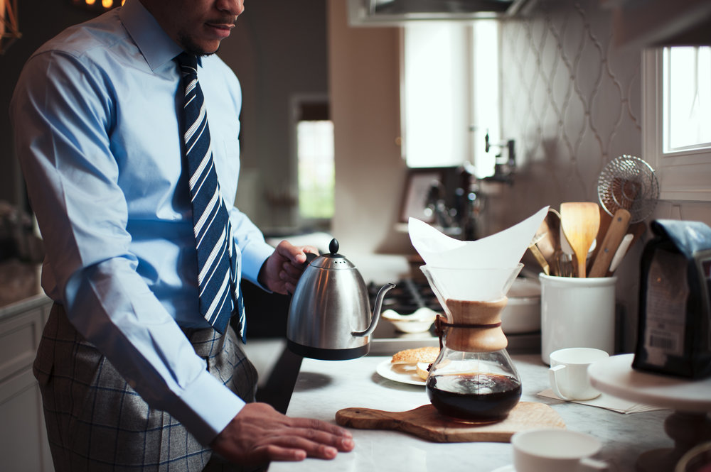 custom blue shirt, striped custom tie, pour over coffee