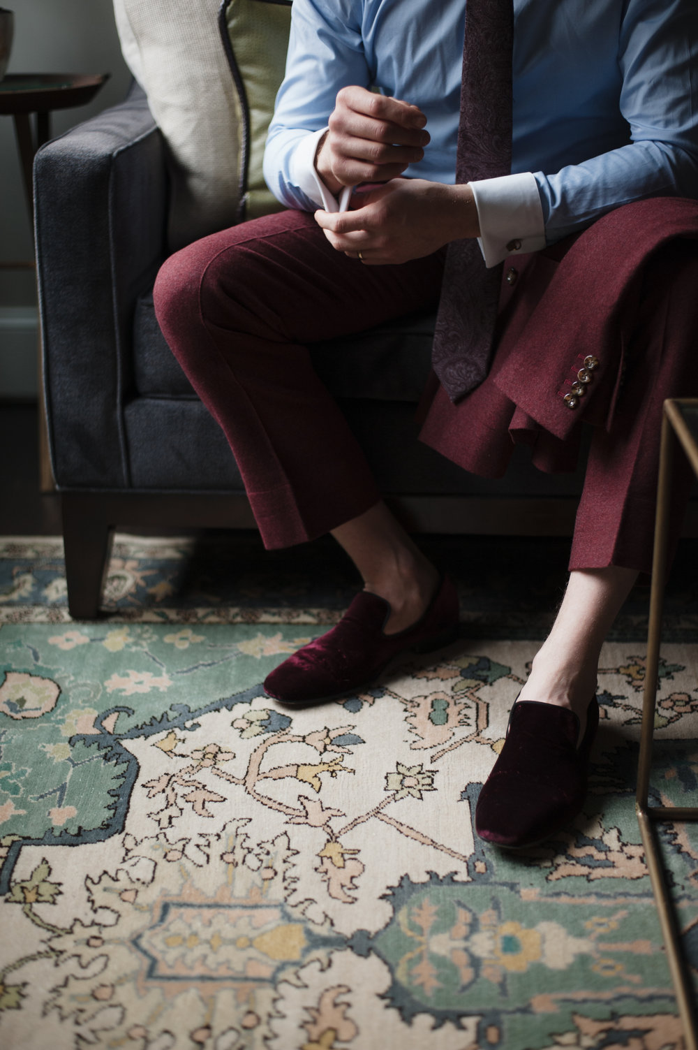 bespoke loafers with Burgundy bespoke slacks