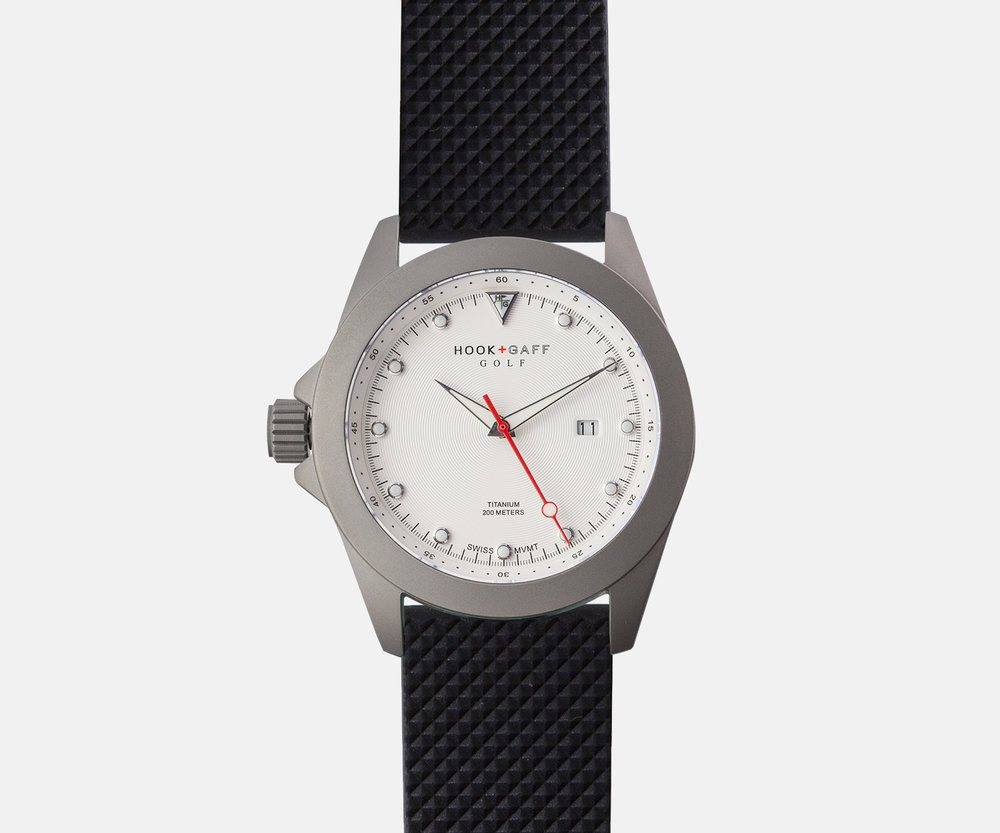 hook and gaff golf watch white dial