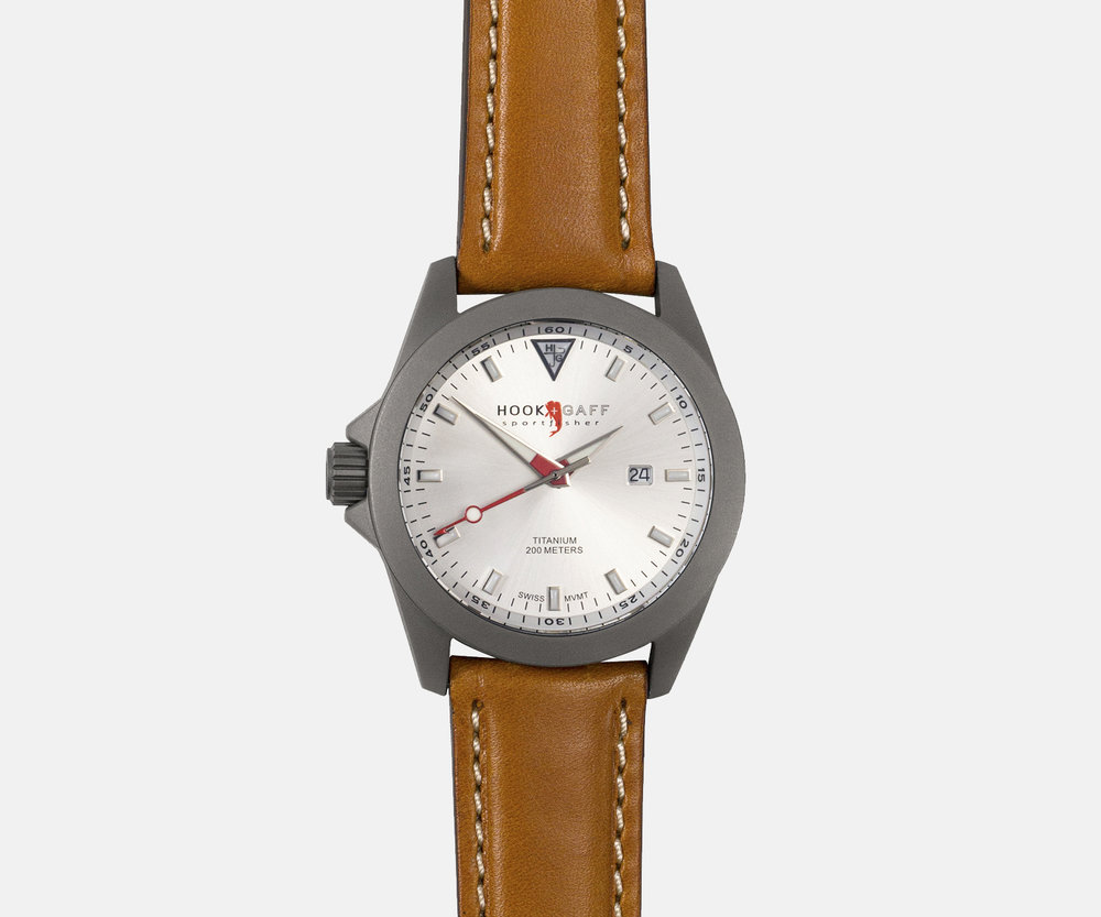 hook and gaff sportfisher II classic silver dial