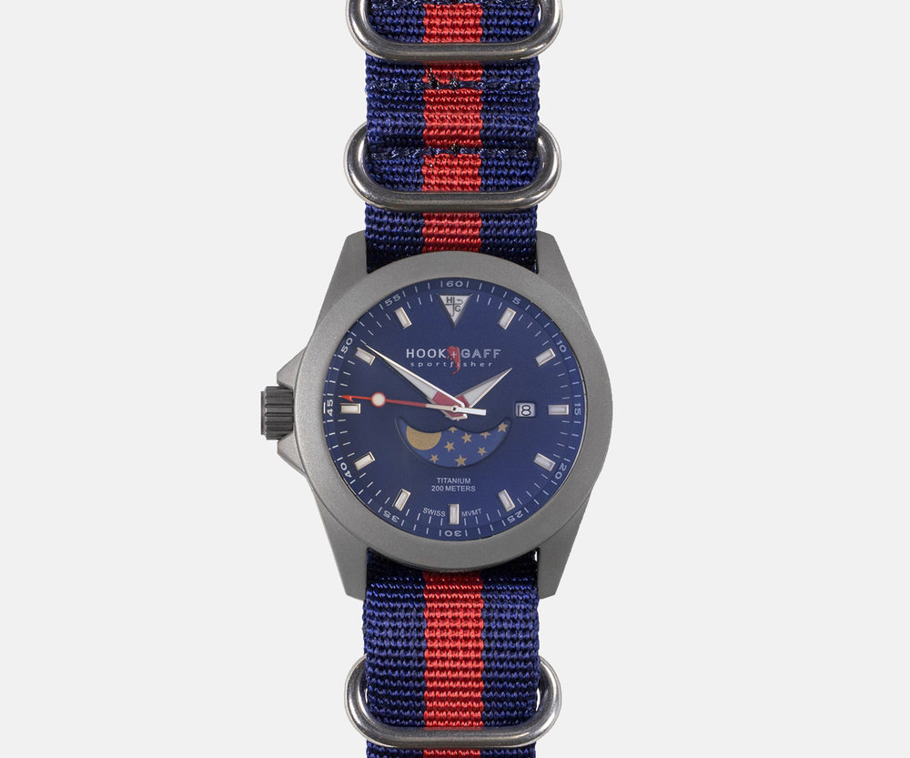 HOOK AND GAFF SPORTFISHER II MP BLUE MOONPHASE DIAL