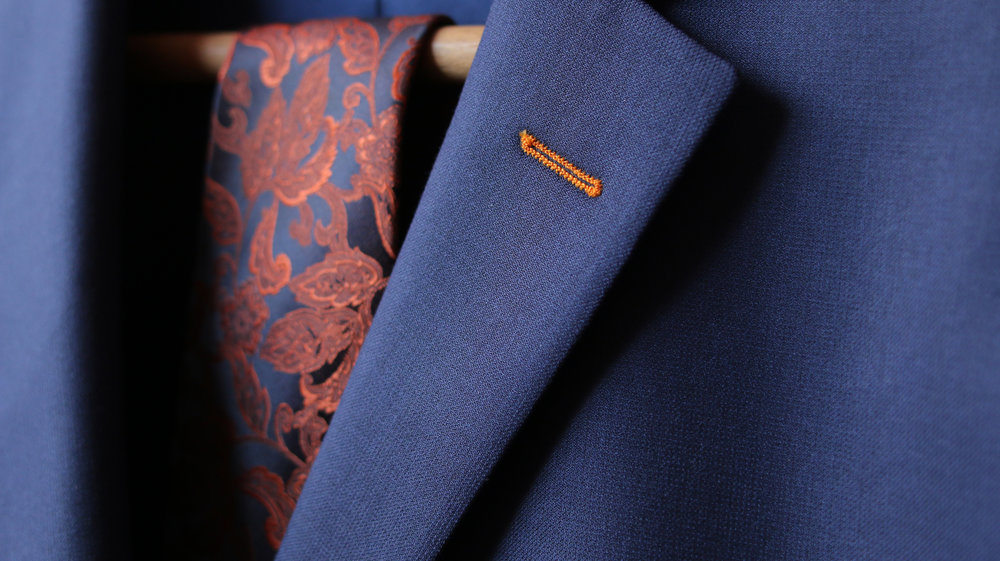 navy blue wool custom suit