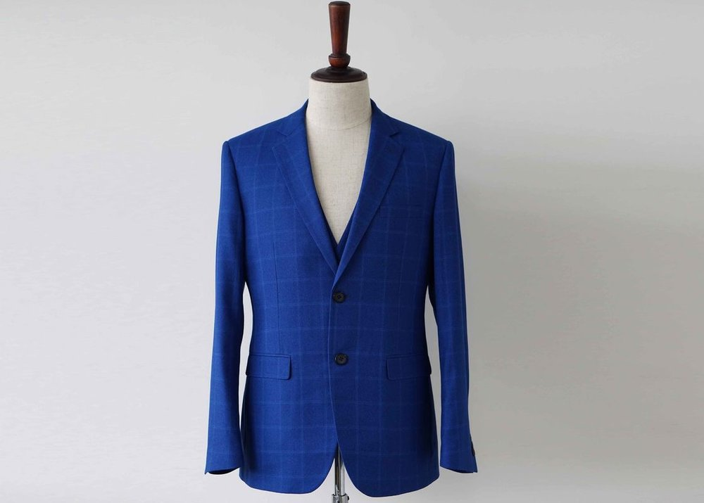 blue polyester blend custom suit