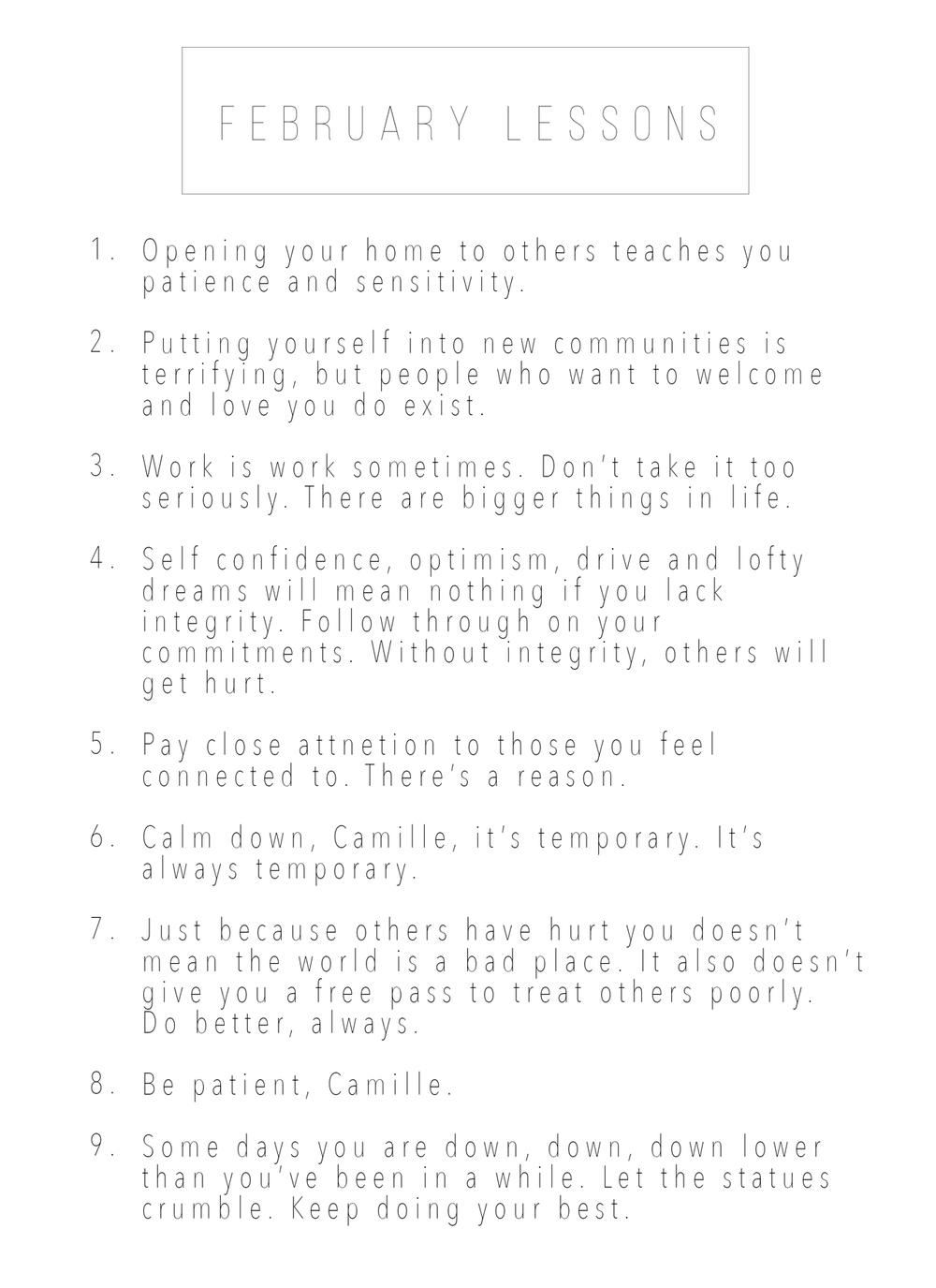 February Lessons   _