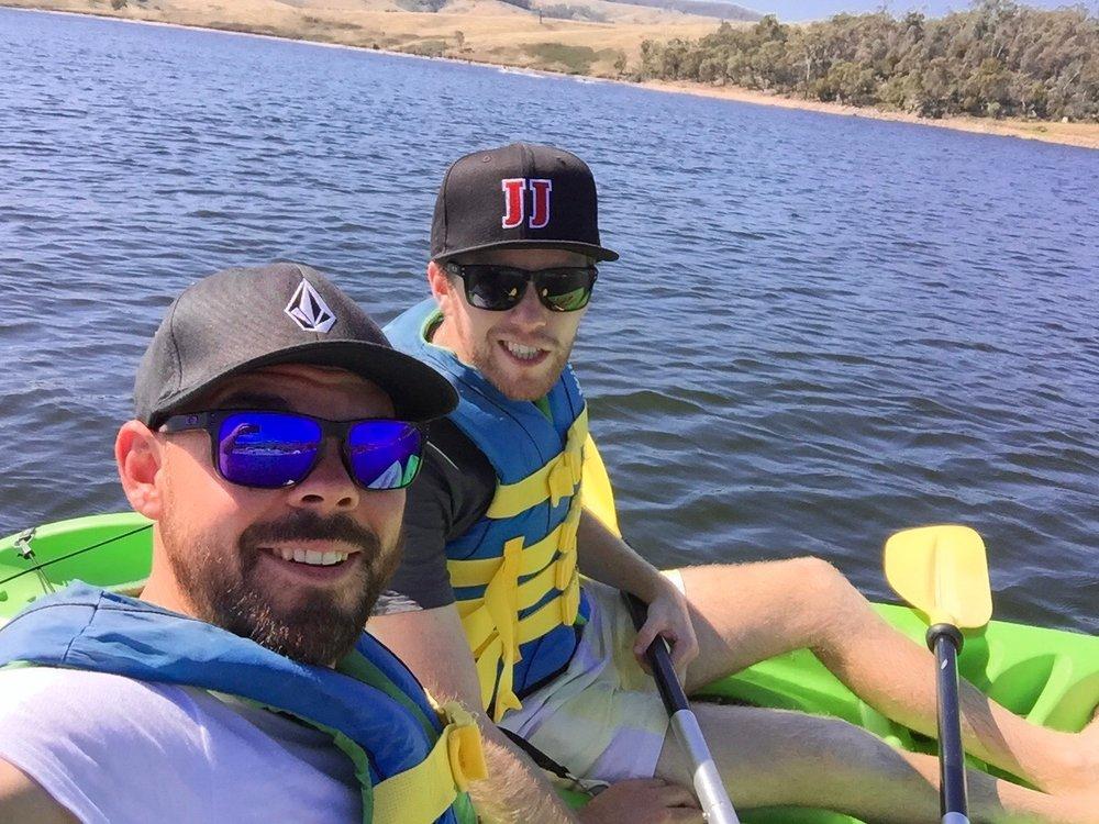 The Lazy Rhino Team kayaking on Lake Lyell