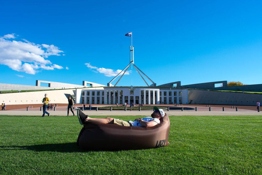 Lazy Rhino @ Parliament House in Canberra