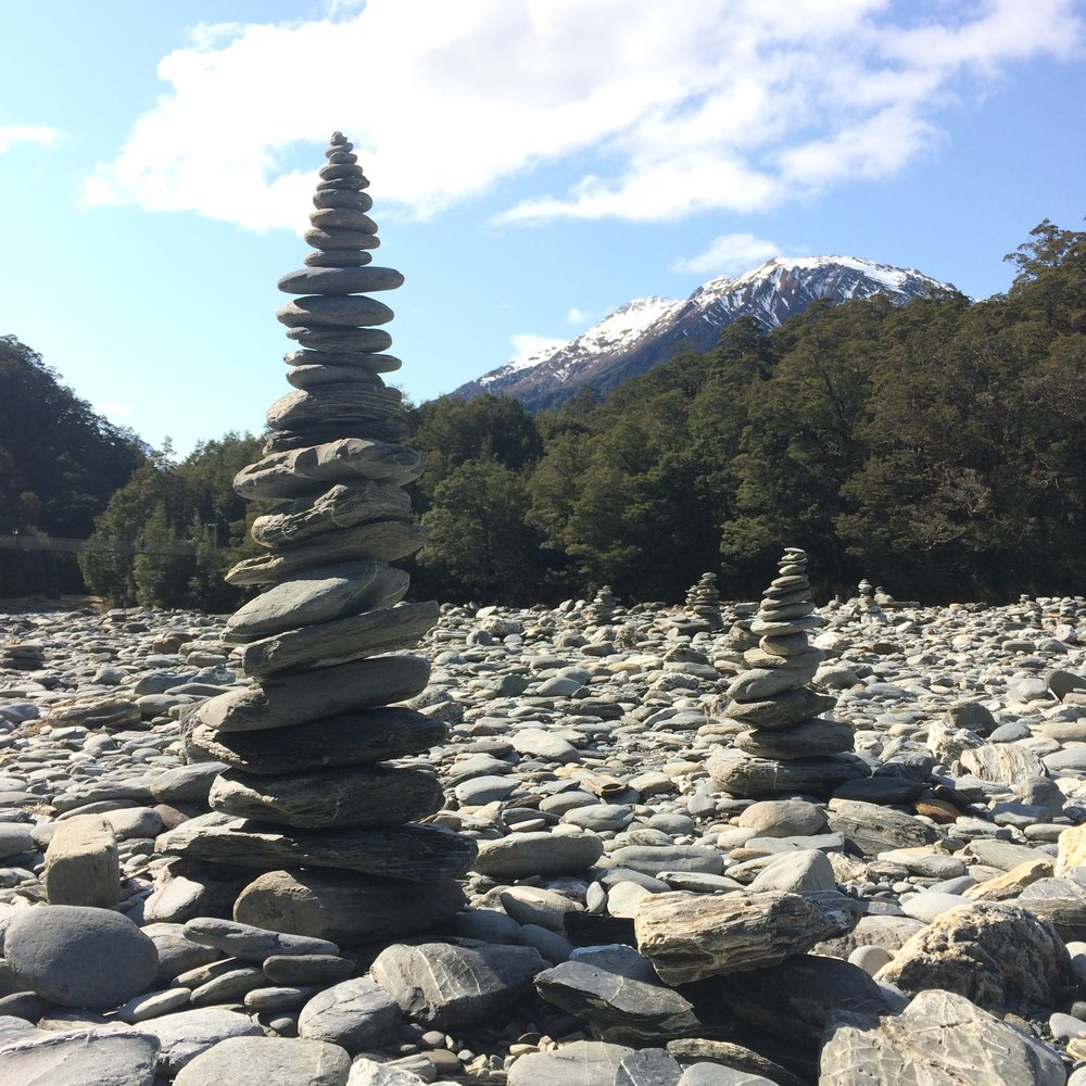 Cairns at the Blue Pools | Haast Pass