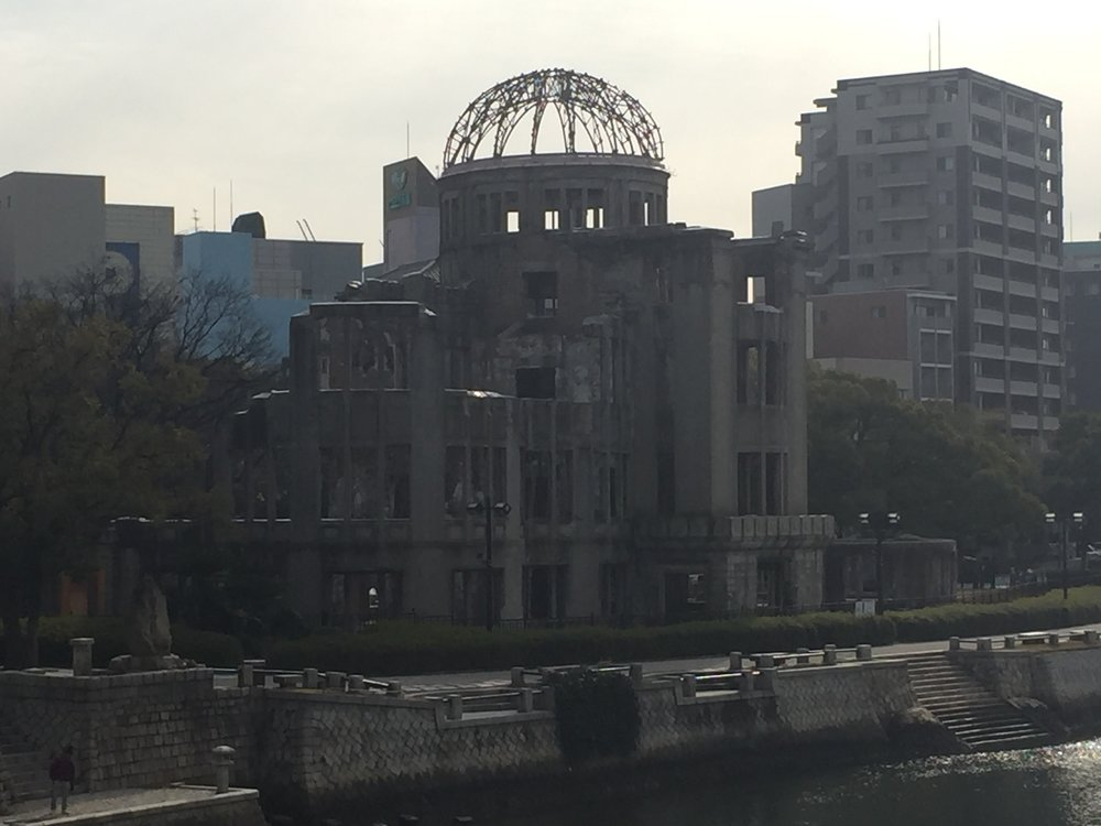 The Genbaku Dome was the only building left standing after the atomic bomb was dropped. The building owes its survival to being directly under the blast which in turn compressed the building rather than blowing it apart.
