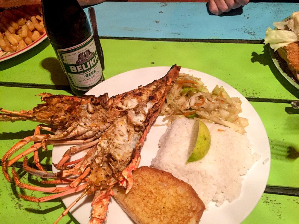 """Lobster and Belize's own Belikin beer at """"Enjoy"""""""