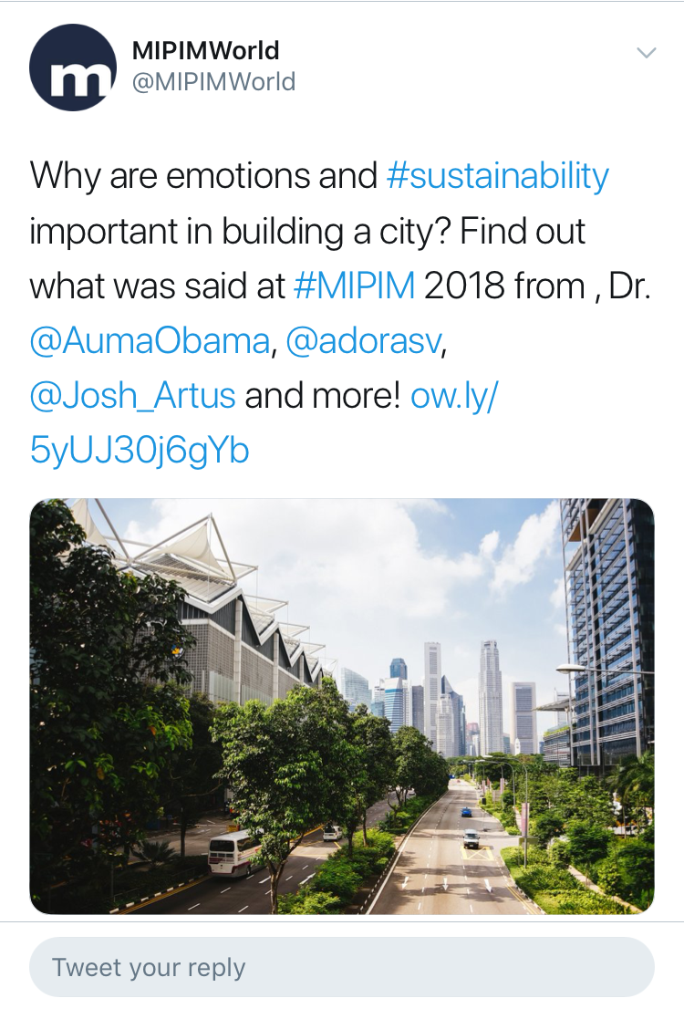and Josh was featured in promotional tweets by Mipim alongside keynote, Dr. Auma Obama, half sister of 44th President of the USA Barack Obama.
