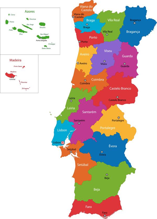 mapa das regioes portugal Mapas de Portugal — Cidades de Portugal mapa das regioes portugal
