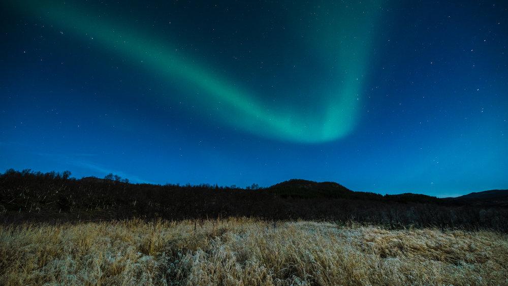 Nordlys over Kvæfjordeidet. ©Bjørn Joachimsen