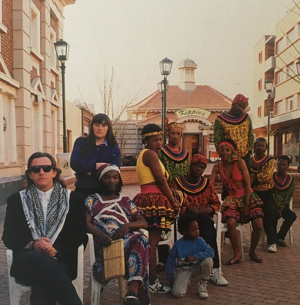 Timbira with Christo Leach in Newtown in front of Kippies Jazz Club.  Photo by Ronnie Levitan from ADA Magazine 10: Johannesburg Special. '92