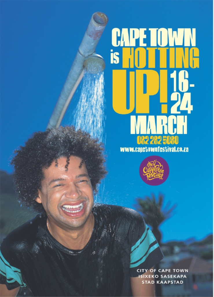 One of 4 posters for the Cape Town Festival - at the time a multidisciplinary festival which looked to foster an intercultural city.  This one features the famous comedian Marc Lottering.  Creative direction and logo - Bruno Morphet