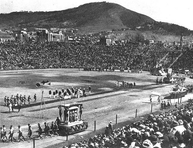 The Van Riebeck Festival of 1952.   This took place in Cape Town and attracted around 100 000 people.  It was part of a broader national celebration connecting different parts of South Africa to the pageant finale.