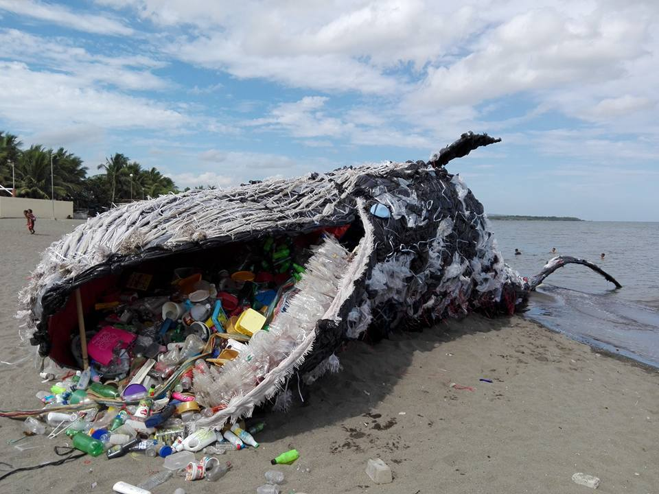 G reenpeace Philippines'  Dead Whale  installation: an  artwork raining awareness of waste in oceans.