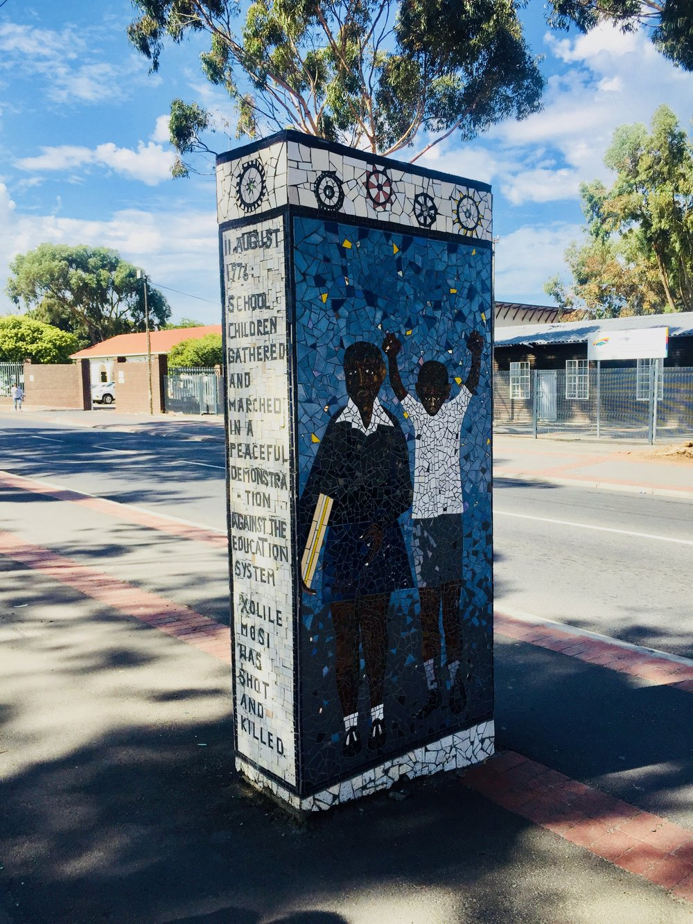 Mosaic memoria to student uprisings in Langa as part of a project to remember the neighbourhoods history