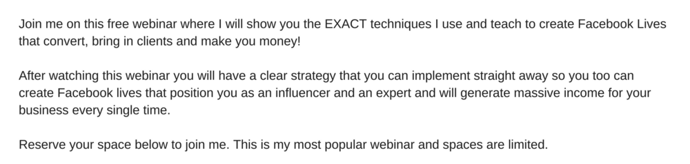 Join me on this free webinar where I will show you the EXACT techniques I used to create a Facebook Live which generated $10,000 in sales for my business and is the live video strategy I currently teach my private cl.png