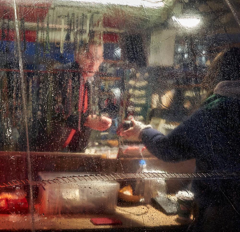 Night market in the rain.