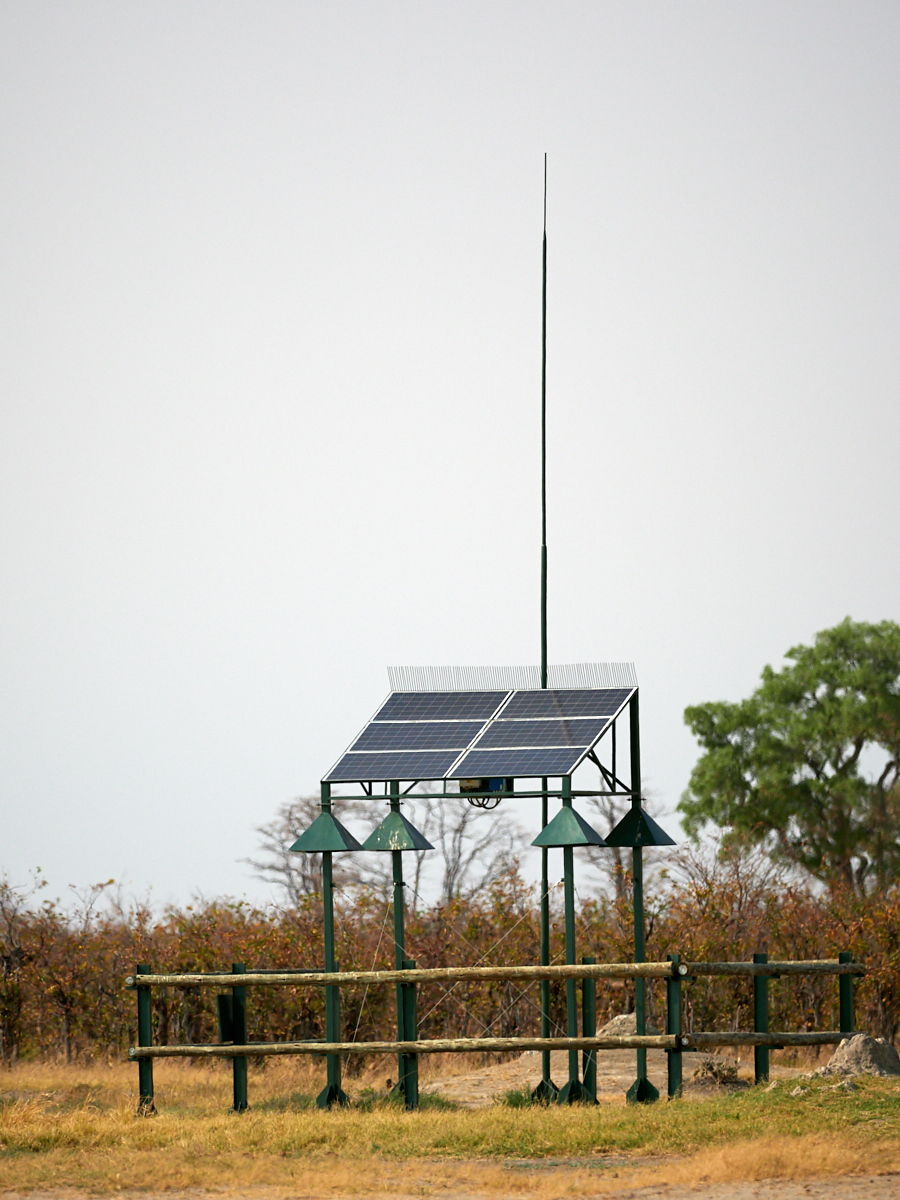 Solar-powered pump for waterhole, Savuti