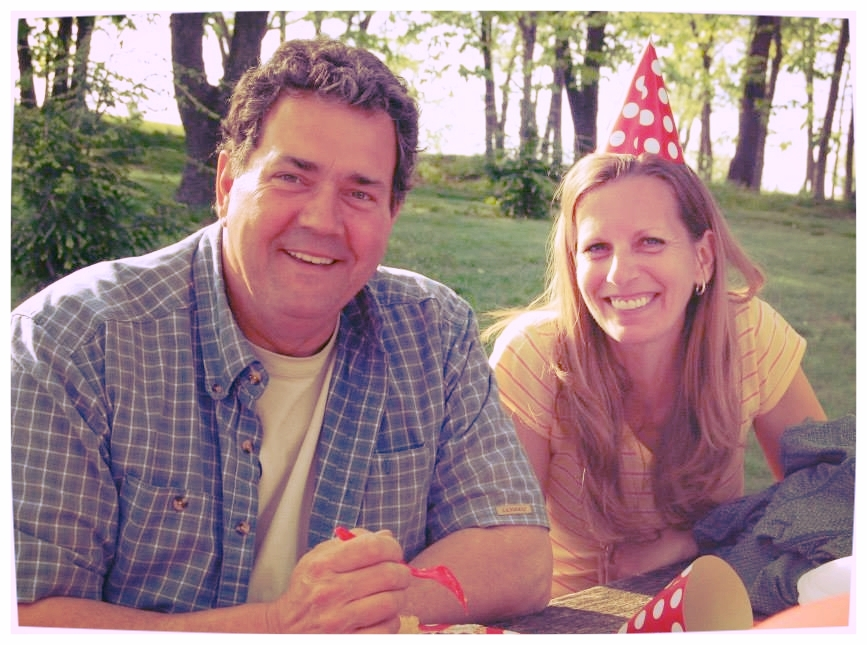 My husband and I celebrating our daughter-in-law's birthday in 2014. Thanks to Ducky Wiedecker for the photo.