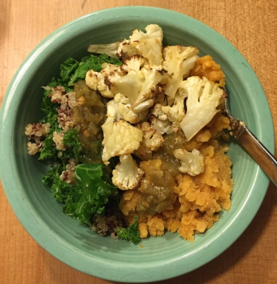 If you've taken one of my yoga classes you know I love options. That's doubly true when it comes to food! This here dinner was quinoa and kale, next to red lentils, topped with green salsa and alongside some roasted cauliflower. So flavorful :)