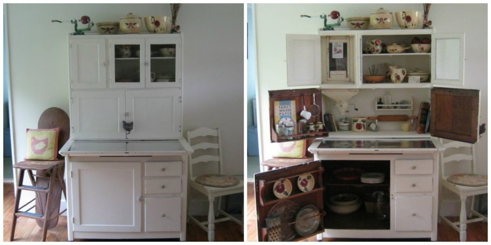 May 14, 2017: At long last, the Hoosier is now settled into our Vermont kitchen! I found drawer pulls on Etsy from  Hinge Vintage Hardware , and the family  Watt Ware  looks right at home inside :)