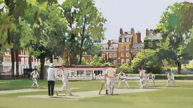 Burton Court Cricket Print