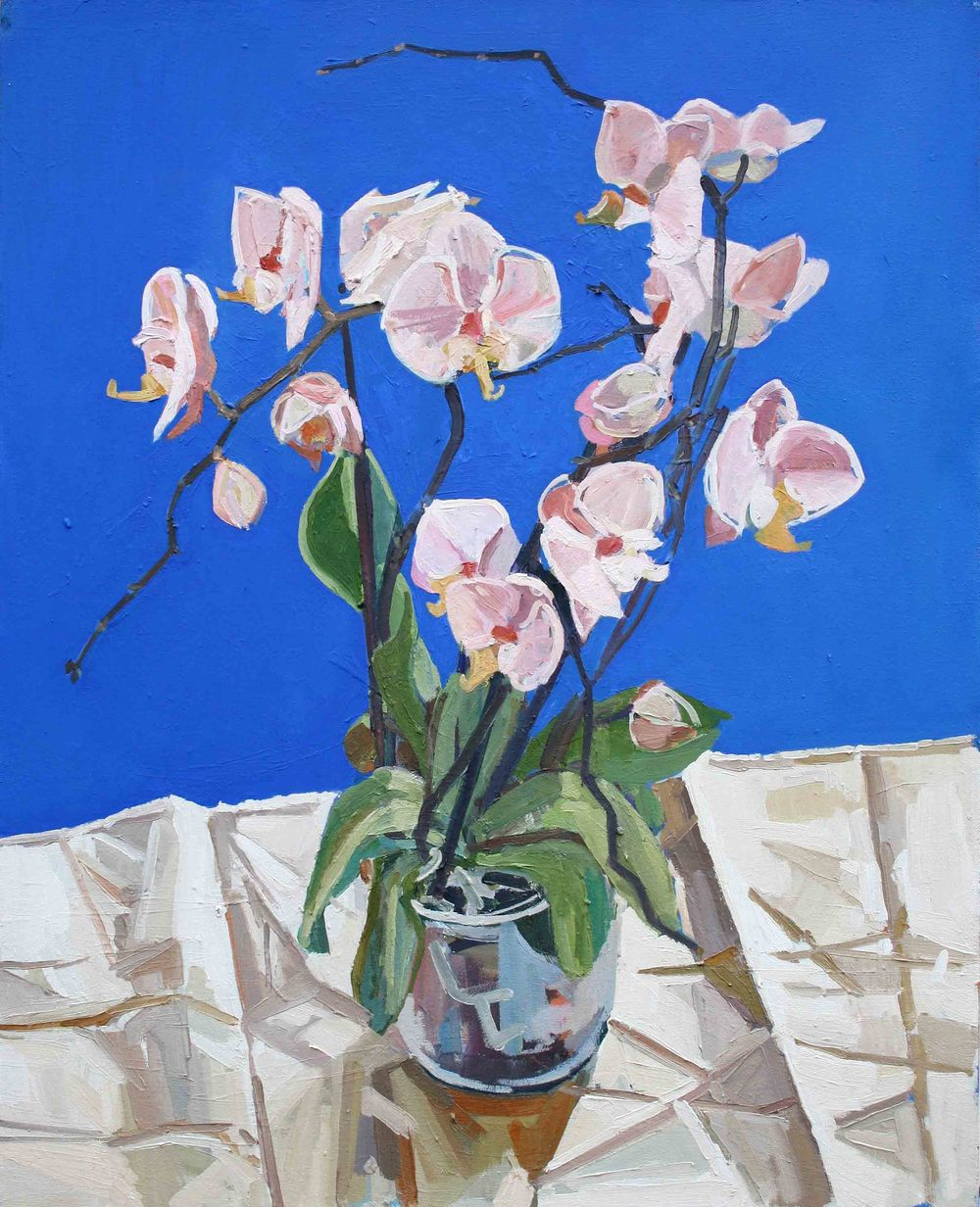 85 x 75 cm White Orchids, Oil on Canvas