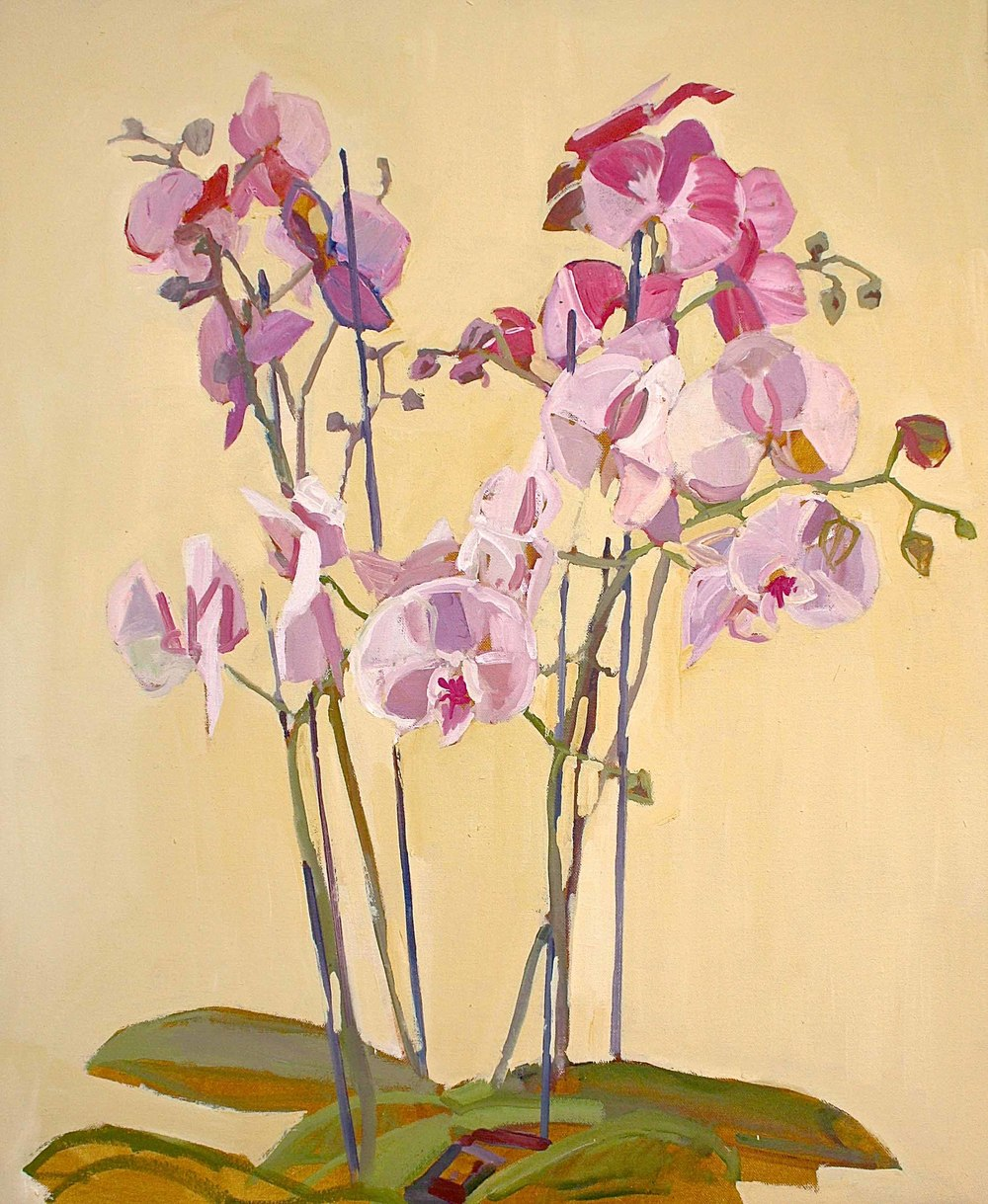 73 x 60 cm Pink Orchid, Oil on Canvas