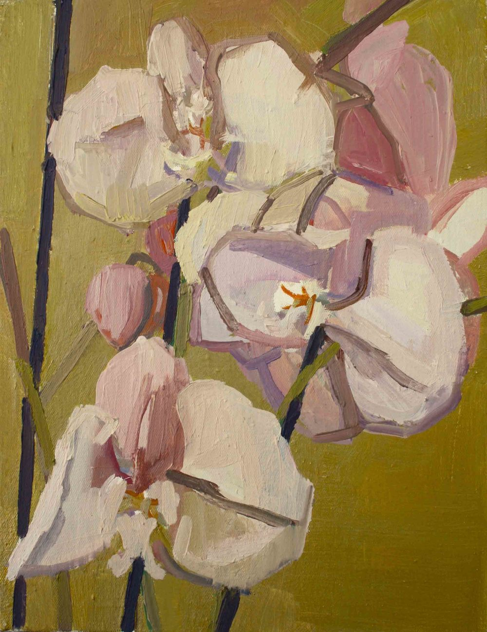 35 x 27 cm Pink Orchid I, Oil on Canvas