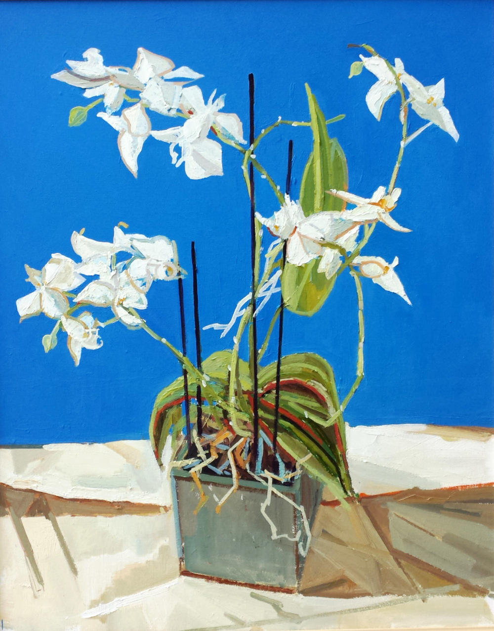 97 x 82 cm Blue Orchid, Oil on Canvas