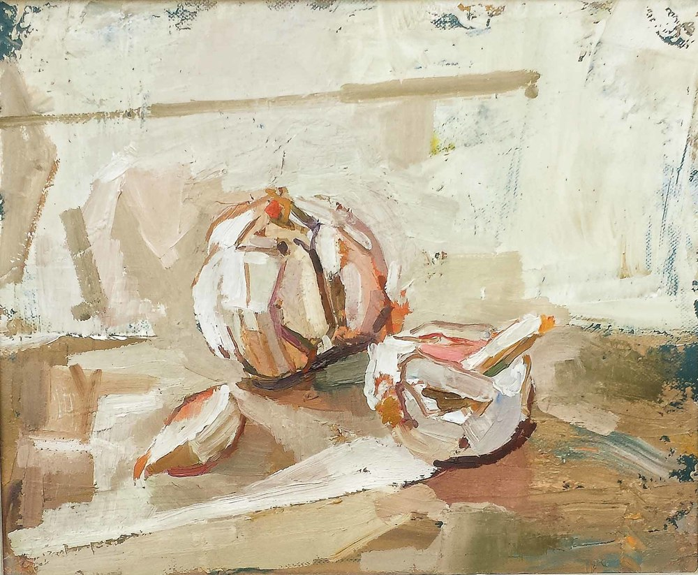 30 x 25 cm Garlic, Oil on Canvas