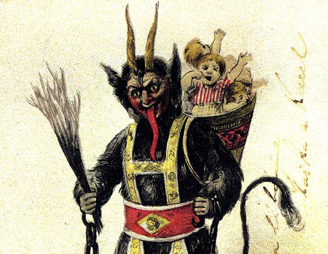 The vile Krampus is seen here carting away a basket full of children