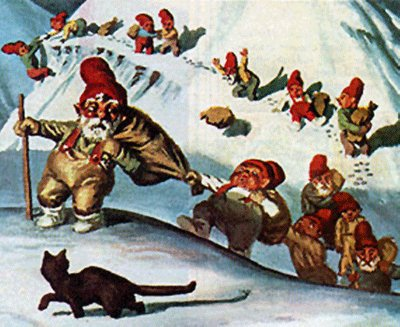 A friendly depiction of the Yule Lads with the Yule Cat - A feline that was also said to have a taste for human flesh
