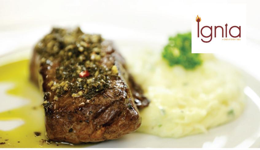 Sirloin steak with red pepper sauce
