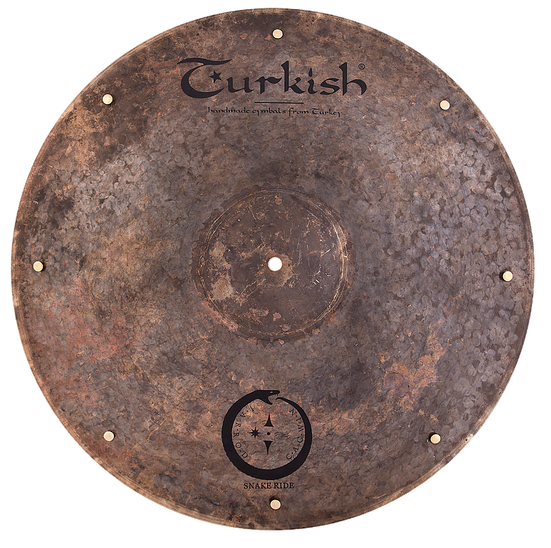 "Riveted cymbals have holes drilled around the outer edge where metal rivets loosely sit. When hit, the vibration causes the small metal rivets to dance about in their holes for as long as the cymbal sustains creating a ""sizzling"" effect."