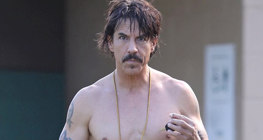 Anthony Kiedis looking like he's ready to prowl for some of these said dark necessities