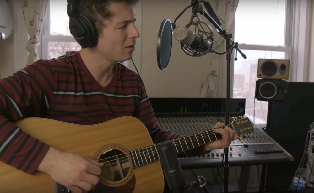 Aaron Waldman tracking guitar in my home studio