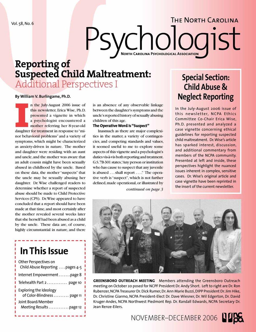 NC Psychological Association - Newsletter Layout Design