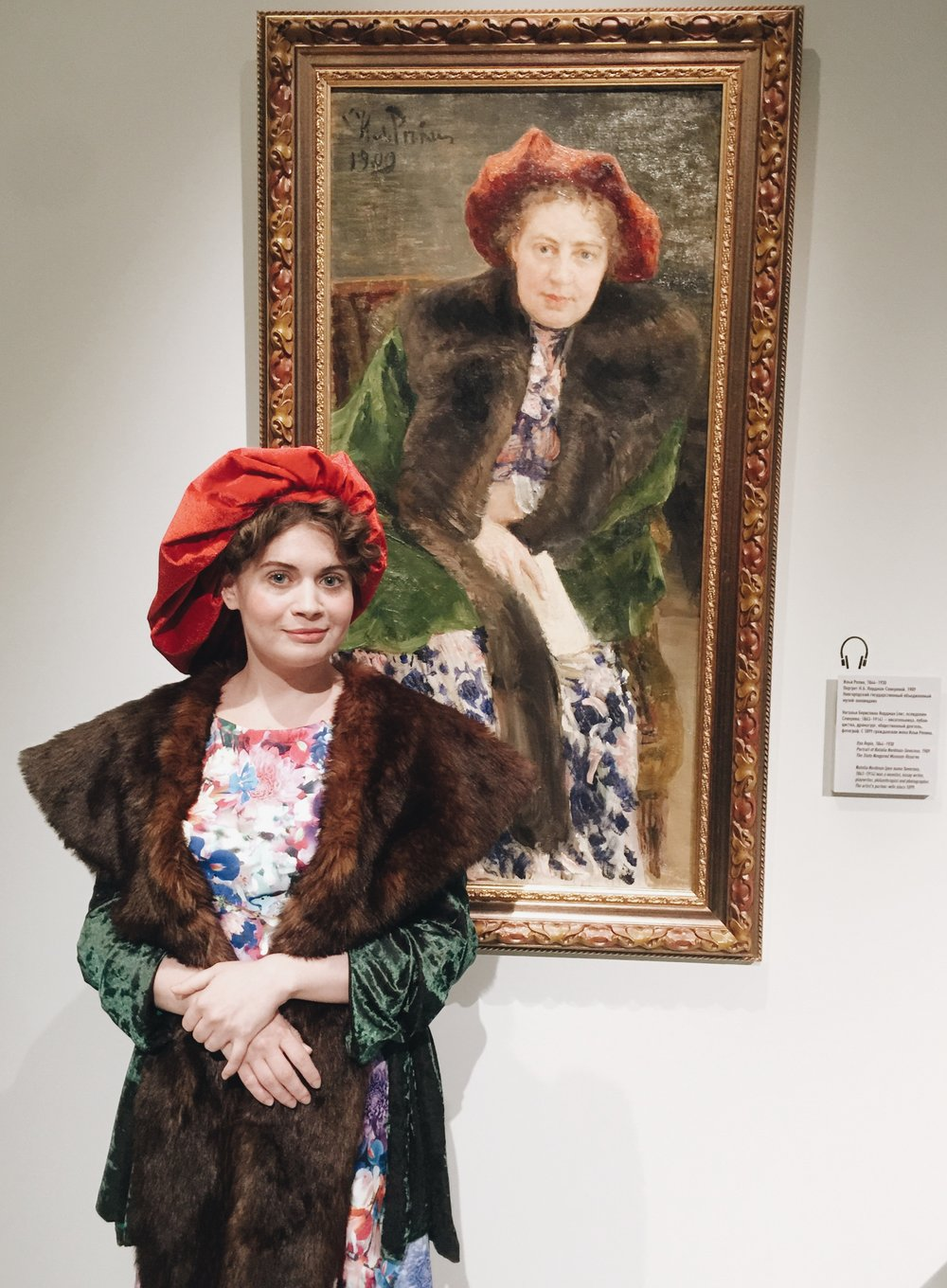 Two representations of Ms Natalia Nordman - Severova: life model & a painting by Ilya Repin (1909, Novgorod Museum)