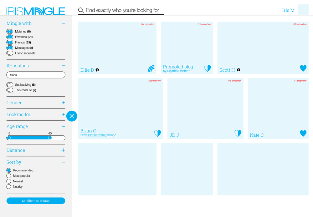 The initial desktop/tablet wireframes focused on a web-based experience that drew lessons from photo sharing and stock photography website filtering.