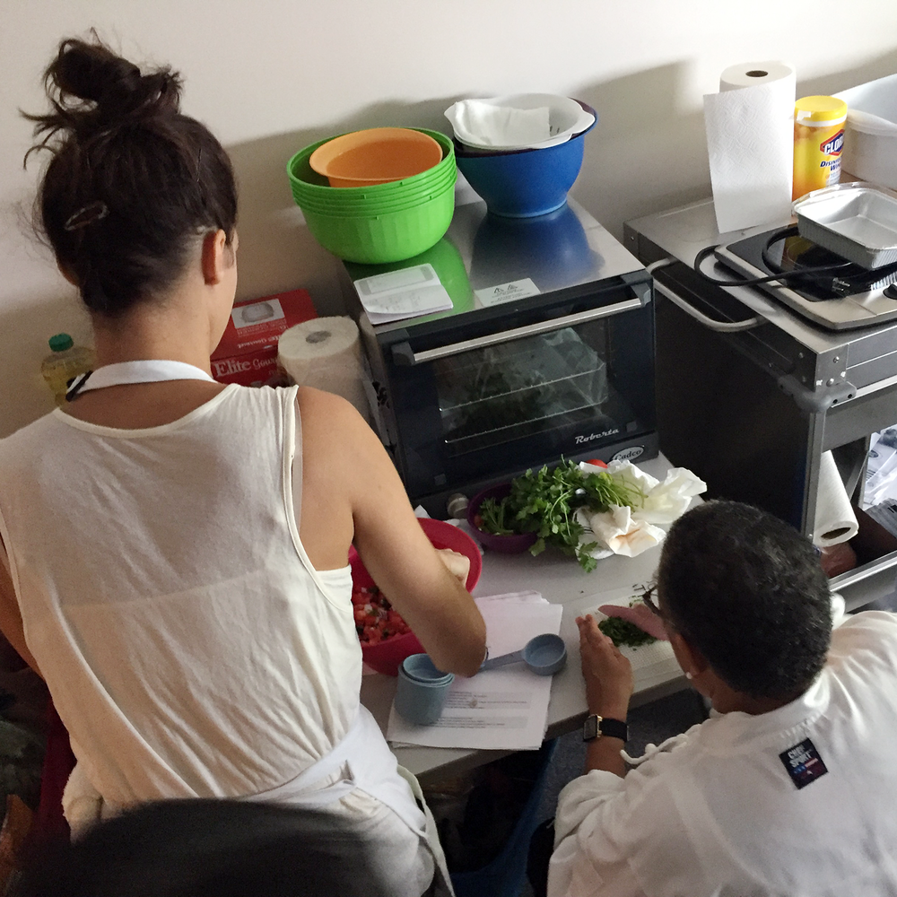 Open Hand's chefs prepared four different recipes at various stages in the tight confines of our makeshift set