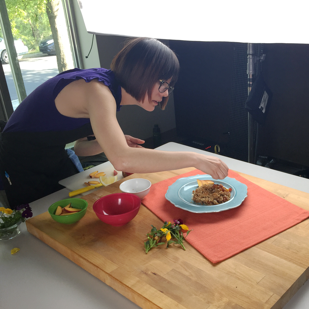 Art director Naomi Smith styling the amazing peach crisp